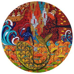 Matsya by Arti Vohra, Fantasy Painting, Acrylic on Canvas, Brown color