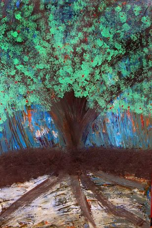 Tree by Najmuddin Kachwala, Expressionism Painting, Acrylic on Canvas, Green color