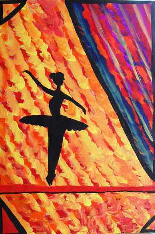 Abstract Painting of a dancing lady by Najmuddin Kachwala, Abstract Painting, Acrylic on Paper, Brown color