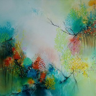 Untitled by Ranjit Patil, Abstract Painting, Acrylic on Canvas, Green color