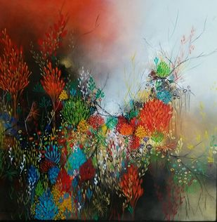 Untitled by Ranjit Patil, Abstract Painting, Acrylic on Canvas, Brown color