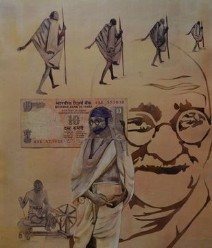 mahatma vs aatma by Prasoon Poddar, Conceptual Painting, Mixed Media on Paper, Brown color