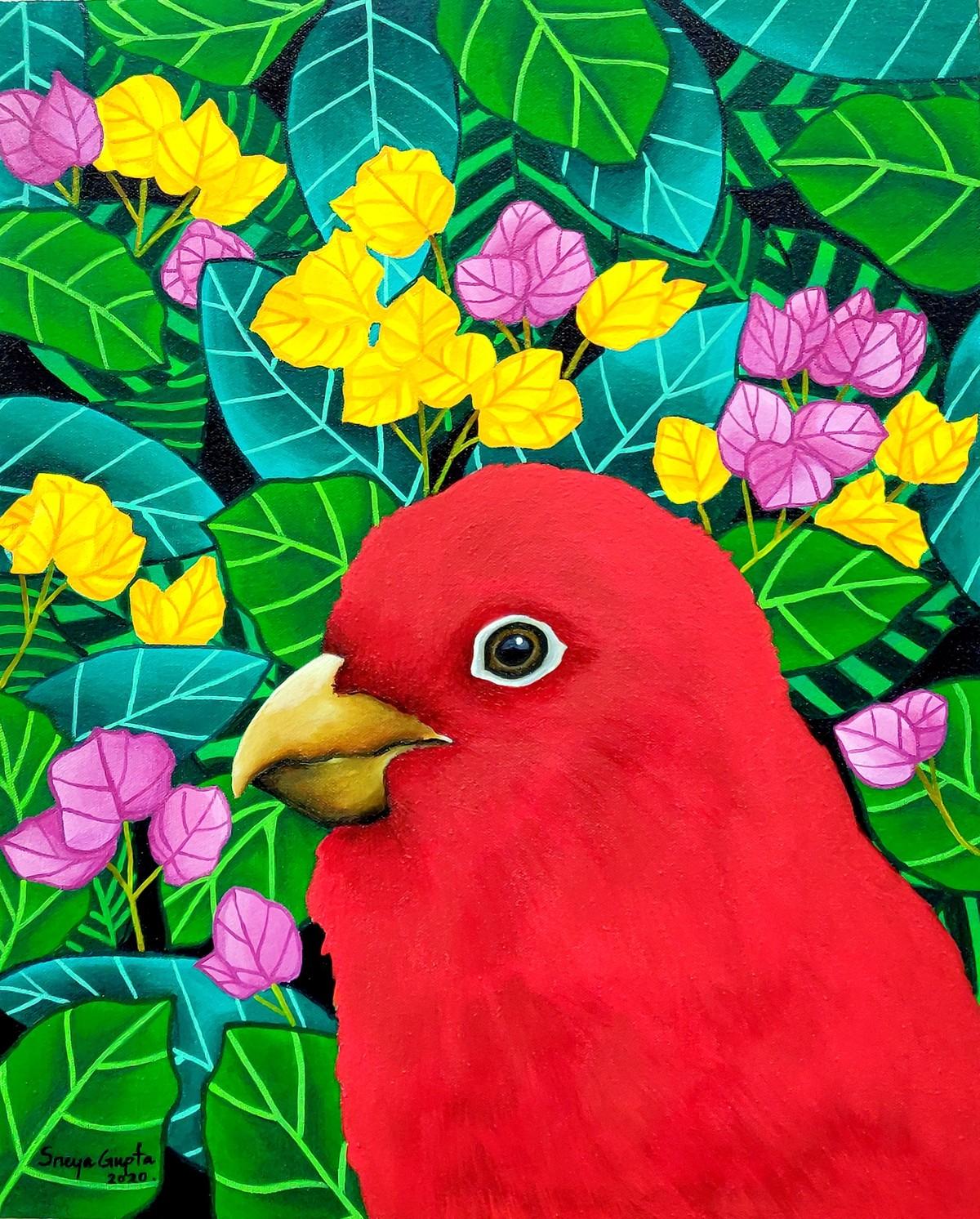Sanguinity by Sreya Gupta, Pop Art Painting, Acrylic on Canvas, Green color