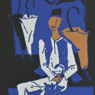 Chattriwala by M F Husain, Expressionism Serigraph, Serigraph on Paper, Blue color