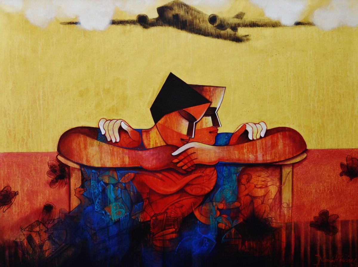 The Metalistic Life by Nawal Kishore, Expressionism Painting, Acrylic on Canvas, Beige color