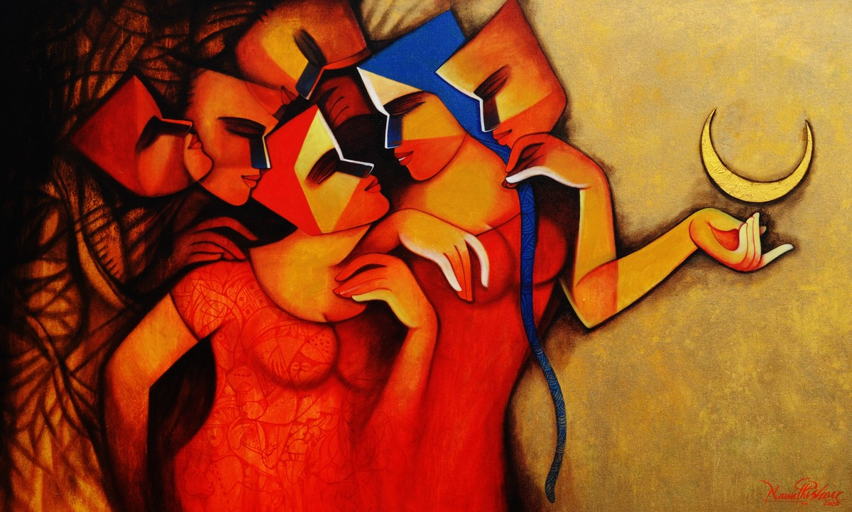 The Celebration by Nawal Kishore, Expressionism Painting, Acrylic on Canvas, Brown color