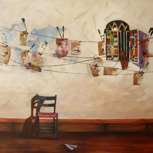 Ray by Isha Bawiskar, Conceptual Painting, Acrylic on Canvas, Beige color