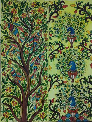 Madhubani Flowers by Nisha, Decorative Painting, Pen, pencil, watercolour on paper,