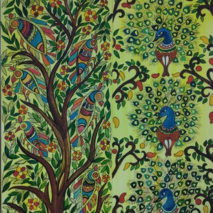 Madhubani Flowers by Nisha, Decorative Painting, Pen, pencil, watercolour on paper,