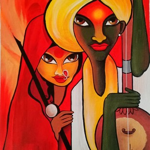 Couple by Kumar Ranadive, Expressionism Painting, Acrylic on Canvas, Brown color