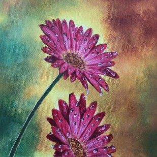 Flower and dew - Crimson Flowers by Herendra Swarup , Expressionism Painting, Acrylic on Canvas,