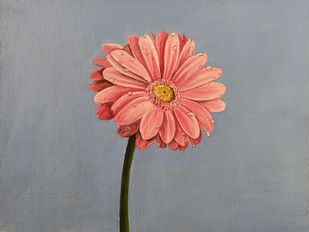 Flower and dew: Pink Flowers by Herendra Swarup , Expressionism Painting, Acrylic on Canvas,