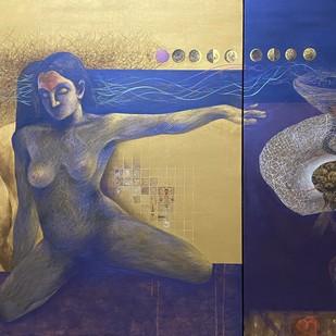 Culmination-IV(series on LGBT) by Vijay Kale, Conceptual Painting, Acrylic on Canvas, Blue color