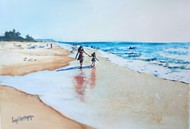 A walk on the beach by Lasya Upadhyaya, Impressionism Painting, Watercolor on Paper, Cyan color