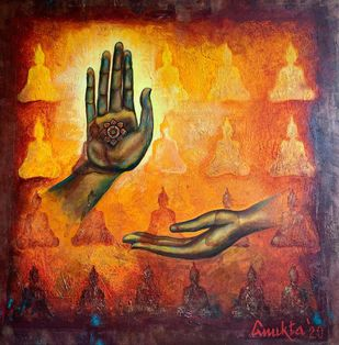Abhaya Mudra by Anukta Mukherjee Ghosh, Expressionism Painting, Acrylic on Canvas, Brown color