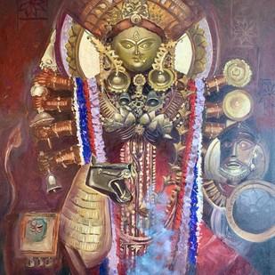 Shakti Rupini Durga by Anukta Mukherjee Ghosh, Expressionism Painting, Oil on Canvas, Brown color