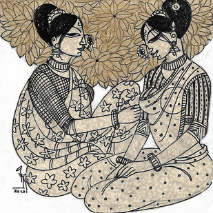 friends by Varsha Kharatmal, Expressionism Drawing, Acrylic & Ink on Canvas, Beige color
