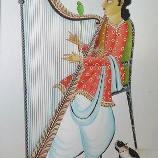Babu playing the harp by Bhaskar Chitrakar, Folk Painting, Natural colours on paper, Gray color