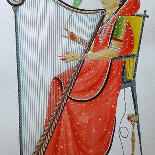 Bibi playing the harp by Bhaskar Chitrakar, Folk Painting, Natural colours on paper, Brown color