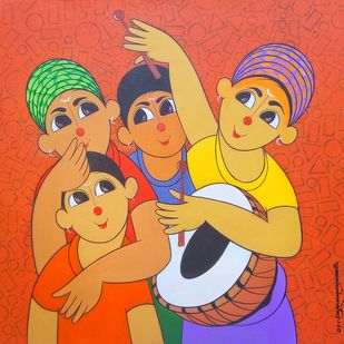 music 2 by Dnyaneshwar Bembade, Expressionism Painting, Acrylic on Canvas, Brown color