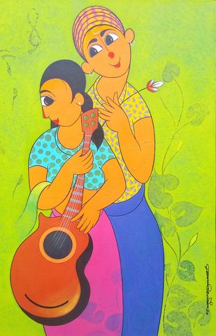 music 3 by Dnyaneshwar Bembade, Expressionism Painting, Acrylic on Canvas, Yellow color