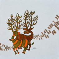 Gond Art by Sheetal Chitlangiya, Tribal Painting, Acrylic on Canvas, Gray color