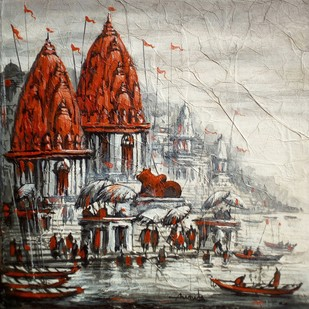 Varanasi by Ananda Das, Impressionism Painting, Acrylic on Canvas, Brown color