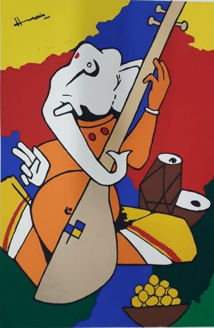 Ganesh by M F Husain, Expressionism Serigraph, Serigraph on Paper, Brown color
