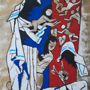 Mother teressa by M F Husain, Expressionism Serigraph, Serigraph on Paper, Brown color