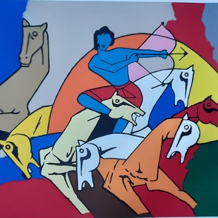 Arjun by M F Husain, Expressionism Serigraph, Serigraph on Paper, Blue color