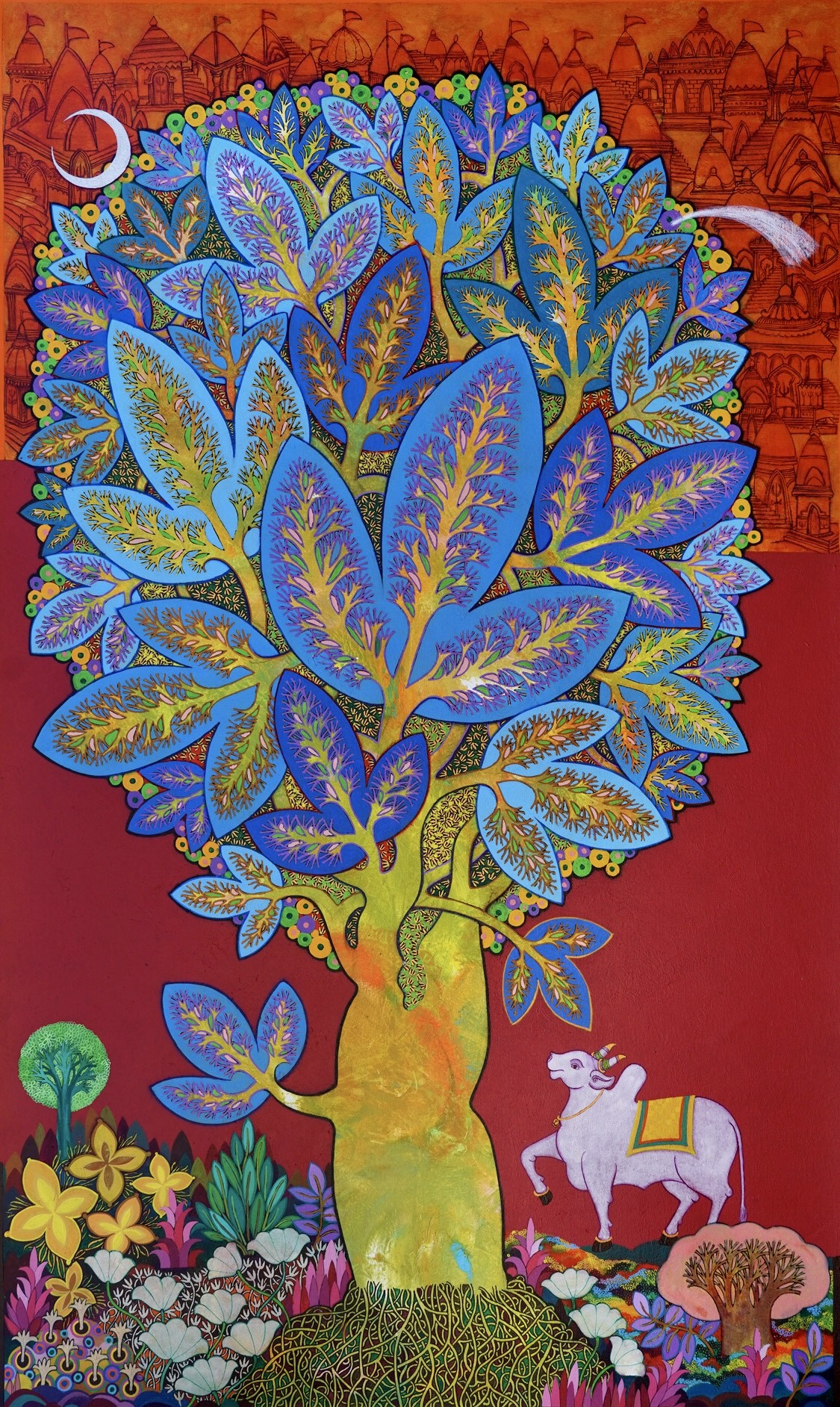 Shiva by Chandra Morkonda, Traditional Painting, Acrylic on Canvas, Brown color