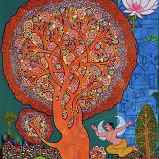 Maha Vishnu by Chandra Morkonda, Fantasy Painting, Acrylic on Canvas, Brown color