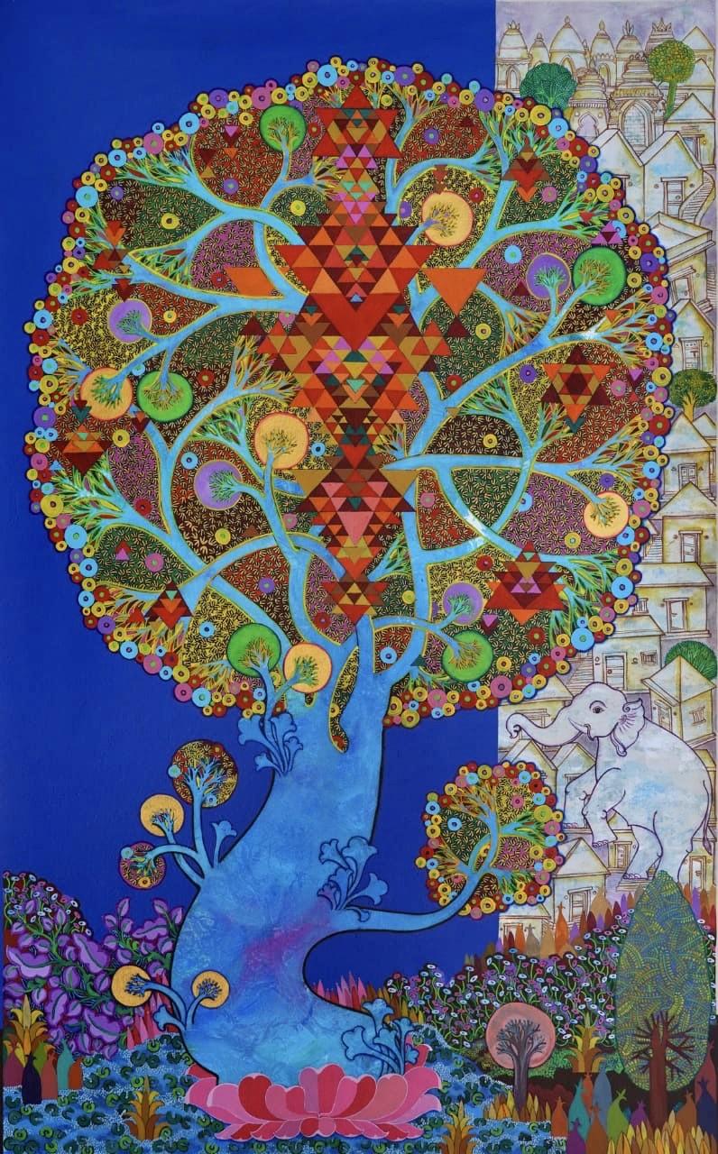 Maha Lakshmi by Chandra Morkonda, Traditional Painting, Acrylic on Canvas, Blue color