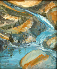 Waterfall with Reflection by Animesh Roy, Expressionism Painting, Oil on Canvas, Beige color