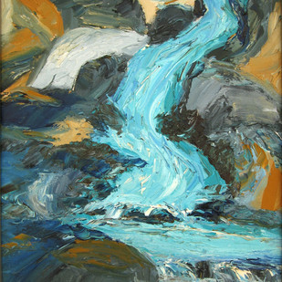 Waterfall with Boulders by Animesh Roy, Expressionism Painting, Oil on Canvas, Green color