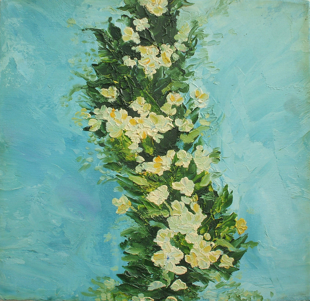 Flowering Bough-4 /White Flowers by Animesh Roy, Expressionism Painting, Oil on Canvas, Cyan color