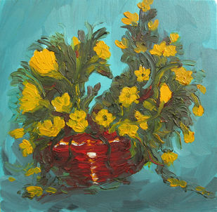 Yellow Flowers In Basket / Zonkile by Animesh Roy, Expressionism Painting, Oil on Canvas, Green color