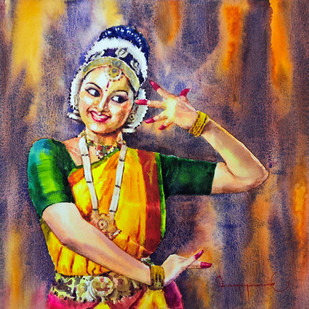 classical dancer 01 by Jeyaprakash M, Expressionism Painting, Watercolor on Paper, Brown color