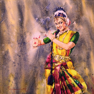 classical dancer 02 by Jeyaprakash M, Expressionism Painting, Watercolor on Paper, Brown color