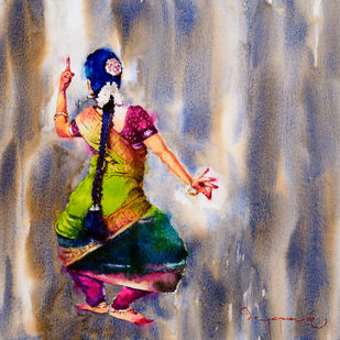 classical dancer 03 by Jeyaprakash M, Expressionism Painting, Watercolor on Paper, Brown color