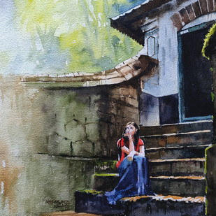 Lost in a day dream by Mopasang Valath, Impressionism Painting, Watercolor on Paper, Gray color