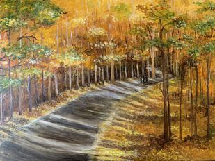 Path in the forest -Autumn by Kajal Nalwa, Impressionism Painting, Acrylic on Canvas, Brown color