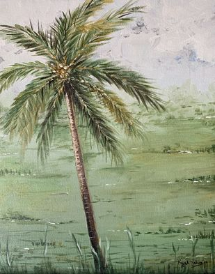 Coconut tree -Goa by Kajal Nalwa, Impressionism Painting, Acrylic on Canvas, Beige color
