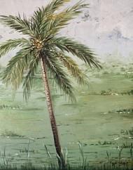 Coconut tree -Goa by Kajal Nalwa, Impressionism Painting, Acrylic on Canvas, Beige color