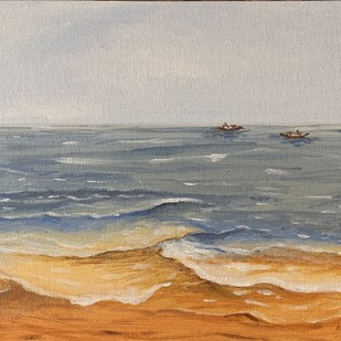 Fishing boats -Goa by Kajal Nalwa, Impressionism Painting, Acrylic on Canvas, Gray color