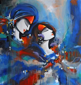 colours of love by pradeesh k raman, Decorative Painting, Acrylic on Canvas, Blue color