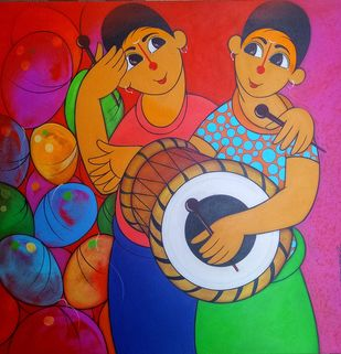 musical day by Dnyaneshwar Bembade, Expressionism Painting, Acrylic on Canvas, Brown color