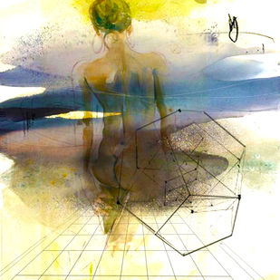 Ray of Hope by Gopal Mehan, Expressionism Painting, Watercolor and charcoal on paper, Beige color