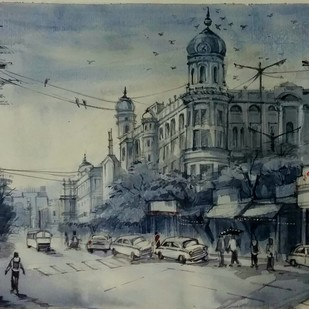 Kolkata's Street by Krishnendu Halder, Expressionism Painting, Watercolor on Paper, Gray color