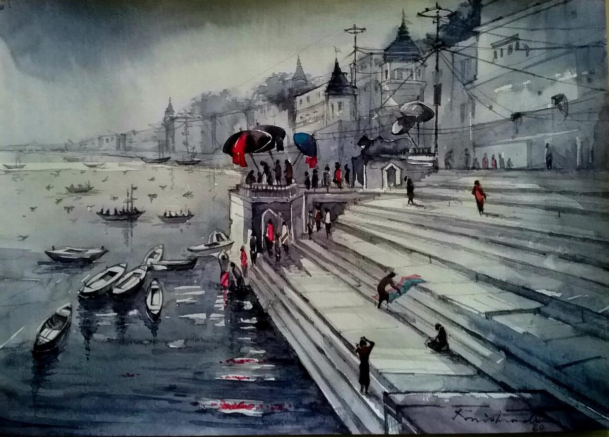 Varanasi Ghat by Krishnendu Halder, Impressionism Painting, Watercolor on Paper, Gray color